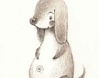Original pencil drawing - Doggy - grey dachshund - black and white illustration