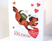 Vintage Valentine Reproduction Outer Space Dog