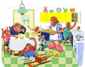 Orangutans at Breakfast Nursery Art Print