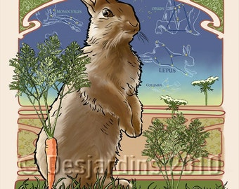 ACEO Print Celestial Creatures - Lepus the Great Hare
