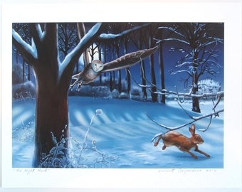 Rabbit and Owl Print of Original Illustration The Night Hunt