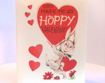 Vintage Valentine Reproduction Hoppy Rabbit