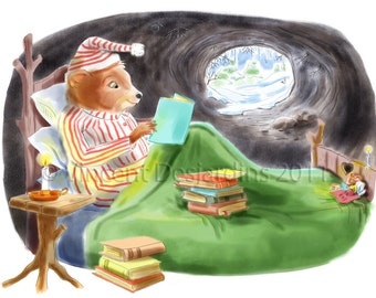 Nursery Art Bear and Mouse Reading Print of Original Illustration