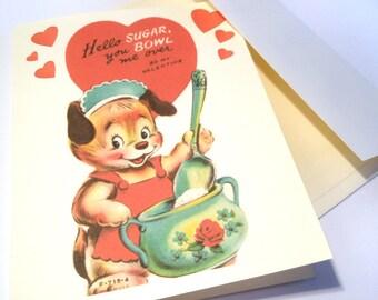 Vintage Valentine Reproduction Sugar Bowl Dog