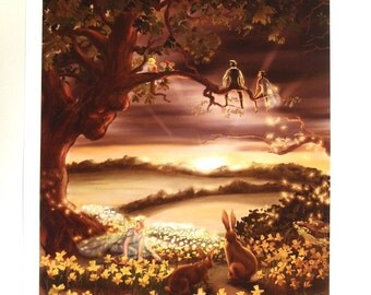Fairy Sunset with Rabbits and Daffodils Signed Print