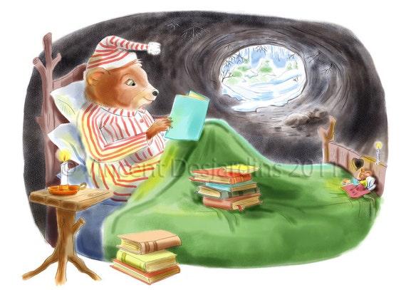 Nursery Art Bear and Mouse Reading Print of Original Illustration
