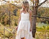 Boho Wedding Dress with High Low Hem - Stella by Starlight
