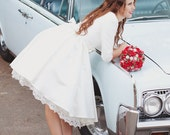Short Wedding Dress with Sleeves and Pockets - Janie Jones