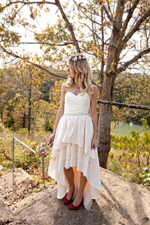 Boho Wedding Dress with High Low Hem - Stella by Starlight