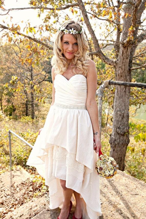 Vintage Wedding Dresses Kcmo : Boho wedding dress with high low hem by thepeppermintpretty