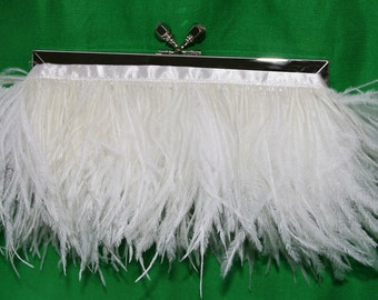 Feather Bridal Purse Silver with Jeweled Swarovski Crystal Clasp and Ivory Ostrich Feathers Prom Evening