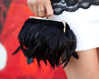 Black Feather Purse Clutch with Jeweled Clasp