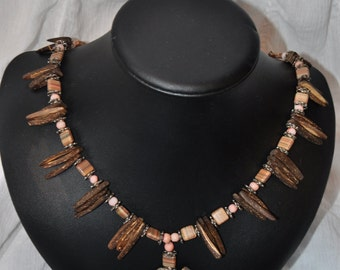 Wood Dagger, Czech Glass and Hill Tribe Flower Necklace