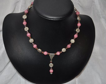 Swarovski Crystal, Bali Silver and Pink Stone Necklace