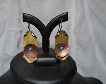 Mixed Metalwork Copper and Brass Hand Riveted Earrings