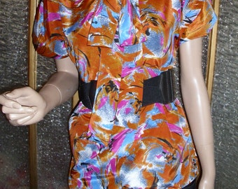 Orange and Blue Swirly Floral Top With Tie
