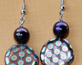 Plum Colored Round Dangle Earrings