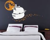 Sailing on Stars - Vinyl Wall Decal - Ship, Moon and Stars