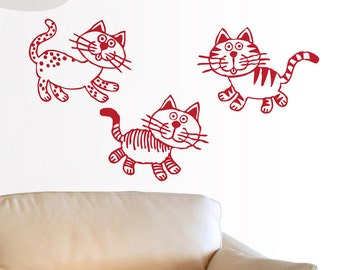 Kitty Cats - Set of 3 Cats - Vinyl Wall Decals
