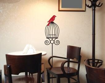 Pet Bird and Cage - Vinyl Wall Decals