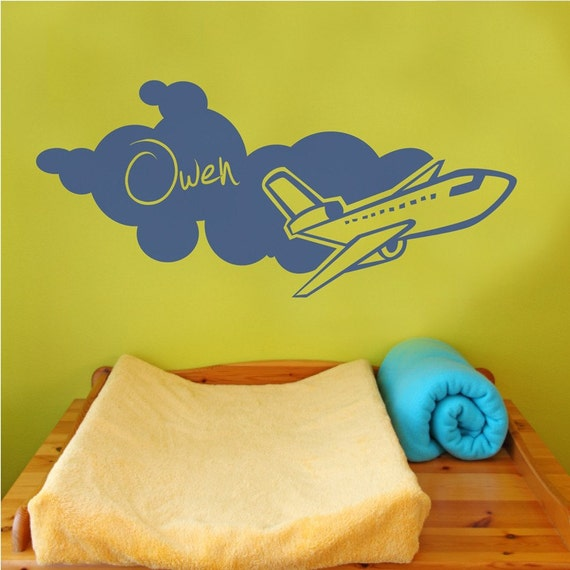 Airplane Monogram - Personalized Vinyl Wall Decal