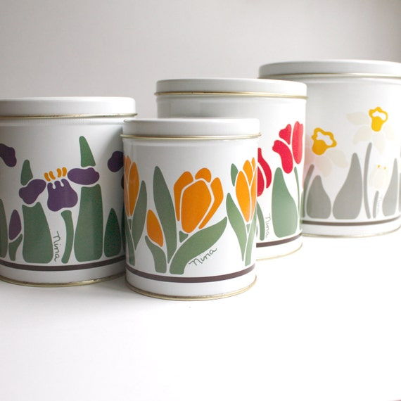 Vintage Canister Set - 1983 Flower Power Set of Four by Nina