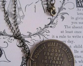 SALE...Honest Walt's Saloon Bordello Brass Necklace, Burlesque Jewelry, Love Necklace