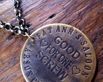Fat Ann's Saloon Brass Red Light Token Necklace