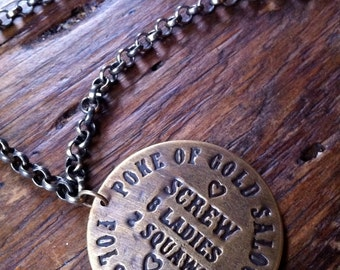 Poke of Gold Brass Bordello Token Necklace, Old West Necklace