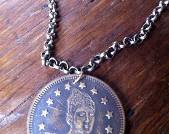 "Lady of the Evening ""Madame Eva"" Brass Bordello Token Necklace, Burlesque Jewelry"