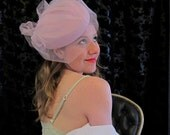 Vintage Light Purple Cocktail Hat w/Veil Netting & Bow, in Wool by Betmar