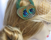 PETITE MYRTLE -- Peacock Eye and Sword Feather Hair Clip Fascinator w/ Speckled Guinea and Rhinestones for the Bride and Bridesmaids