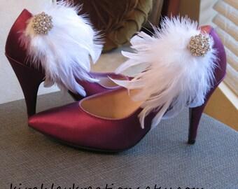 White Feather Rhinestone Cluster Bride Bridal Wedding Shoe Clips MELLANIE Custom Bridesmaids Colors Available Winter Wedding Snow Princess