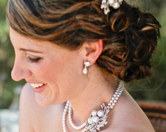 Bridal Pearl Necklace, Bridal Necklace,Ivory Pearls,Bridal Rhinestone Necklace,Statement Bridal Necklace,Pearl Rhinestone Necklace,JULIE