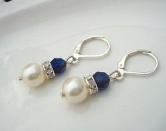 Pearl Earrings, Bridal rhinestone Earrings, Bridal Earrings, Wedding Pearl Earrings, something blue earrings, bridal pearl earrings, KRISTEN
