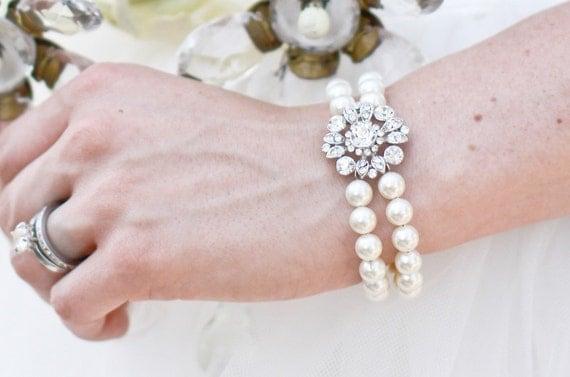 Bridal Wedding Pearl Rhinestone Bracelet,Ivory Pearls,Bridal Rhinestone Bracelet,Wedding Pearl Bracelet,Statement Bridal Bracelet,COLLEEN
