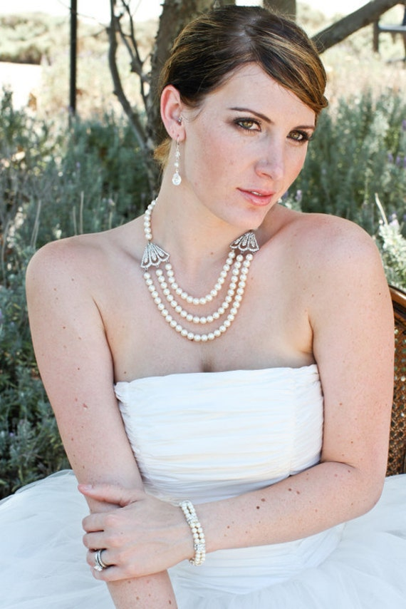 ivory swarovski pearl and crystal necklace Statement Bridal necklace Wedding Rhinestone necklace swarovski pearl bridal necklace LAUREL