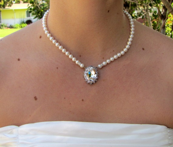 Pearl Necklace,Bridal Necklace,Bridal Rhinestone Necklace,Ivory or White Pearls,Bridal Pearl Necklace,Statement Bridal Necklace,Pearl, XENIA