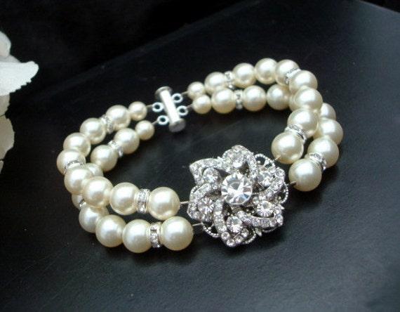 Pearl Bracelet,Bridal Rhinestone Bracelet,Ivory or White Swarovski Pearls,Pearl Bridal Bracelet,Wedding Rhinestone Bracelet,Pearl,MARGIE