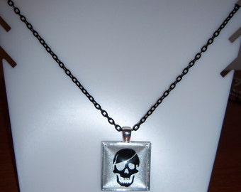 Pirate Skull glass pendant necklace