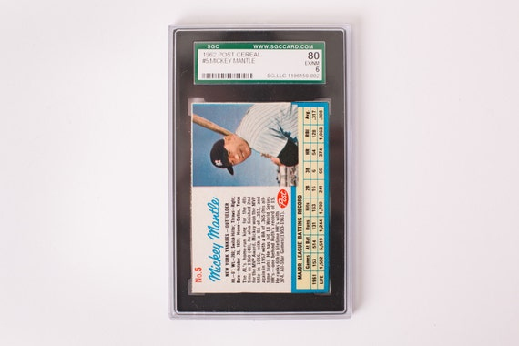Vintage 1962 Mickey Mantle Post Cereal Baseball Trading Card, SGC Graded