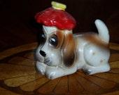 60s Big Sad Eye Hound Dog Salt Ice Bag on Head Animal Figure