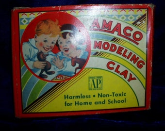 30s  Antique Childs Craft Toy AMACO Modeling Clay USA Antique Art Graphics