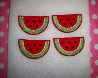 Machine Embroidered Hand made (4) Felt Watermelon Snap clip Embellishments / appliques