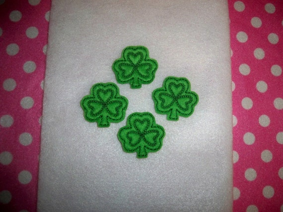 Ready to Ship) Machine Embroidered Hand made (4) Felt Shamrock Embellishments / appliques