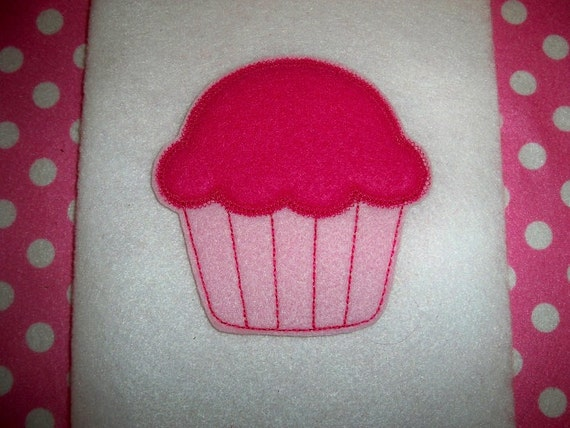 Ready to Ship) Extra Large 4 X 4 Machine Embroidered Hand made  Felt Cupcake Embellishment / applique