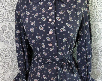 Vintage 30s 40s Rayon Paisley Swing Rockabilly Floral Shirtwaist Dress S