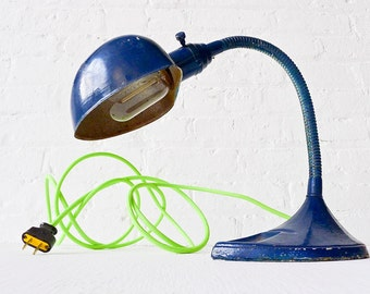 20% SALE - Industrial Lighting - Vintage Gooseneck Table Desk Lamp - Navy Blue w/ Neon Yellow Green Color Cord OOAK