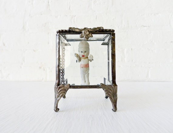 Jewlrey Box Creepy Bisque Baby Doll Beveled Glass Stand
