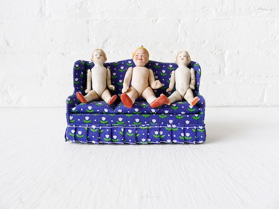 10% SALE - Dollhouse Miniatures - Three's Two Much Company - 3 Antique German Bisque Dolls on Flower Couch